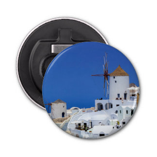 Windmill in Oia, Santorini, Greece Bottle Opener