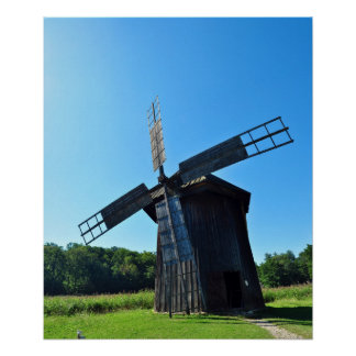 windmill wood wind mill rustic rural propeller poster