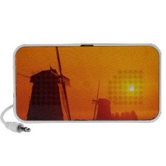 Windmills at sunset, Schermerhorn, Netherlands Notebook Speakers