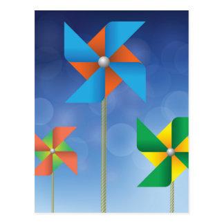 windmills background postcard