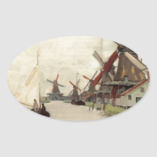 Windmills in Holland by Claude Monet Oval Sticker