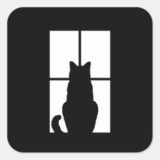 Window Cat Click to Customize Color Decor Square Sticker