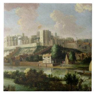 Windsor Castle seen from the Thames, c.1700 (oil o Tile