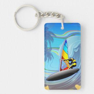 WindSurfer on Ocean Waves Keychain