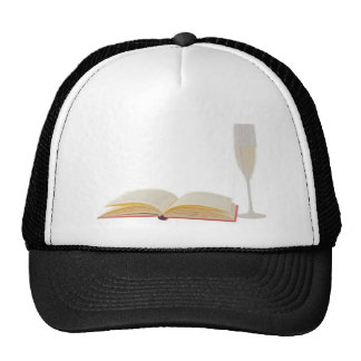 Wine and book trucker hats