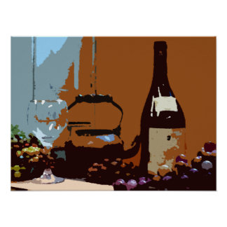 Wine and Grapes Art Poster Earth Colors