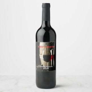 Wine Barrel and Glass Wine Label