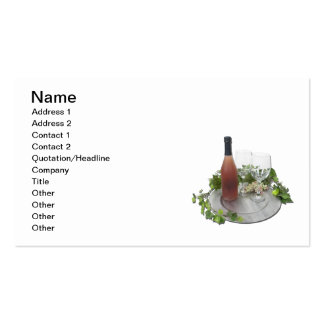Wine Bottle Glasses Silver Charger Business Card Template