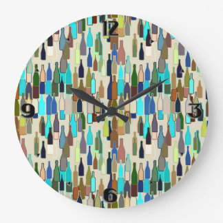 Wine bottles, multi color, beige background large clock