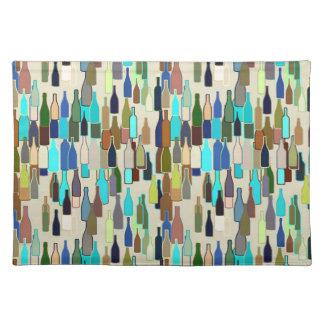 Wine bottles pattern, multi color, beige backgroun placemat