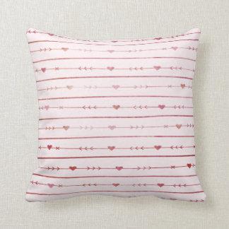 Wine-Coloured Hearts and Arrows Cushion