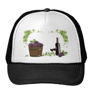 Wine glasses and wine barrel trucker hat