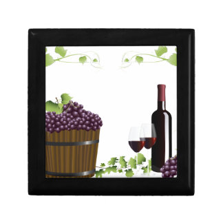 Wine glasses and wine barrel gift box