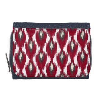 Wine Gray Abstract Tribal Ikat Diamond Pattern Wallets