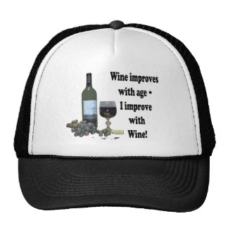 Wine improves with age, I improve with Wine! Mesh Hats
