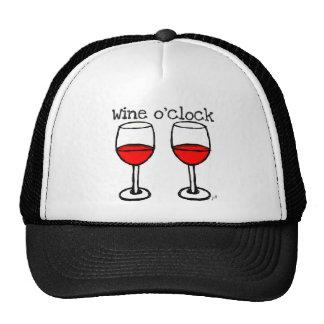 """""""WINE O'CLOCK"""" FUN RED WINE PRINT CAP"""