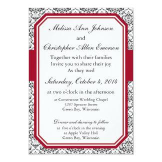 Wine Red Damask Invitation