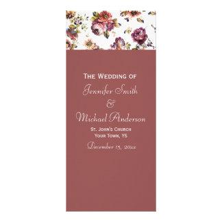 Wine Rose Wedding Program Custom Rack Card