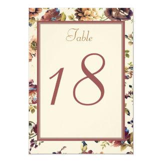 Wine Rose Wedding Table Number Card