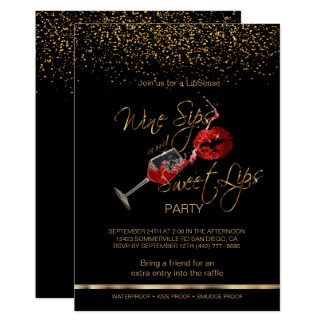 Wine Sips and Sweet Lips Lipsense Party Card
