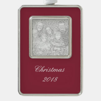 Wine Solid Color Silver Plated Framed Ornament