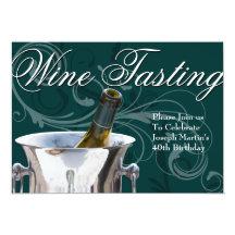 "Wine Tasting 40th Birthday Party Elegant French 5"" X 7"" Invitation Card"