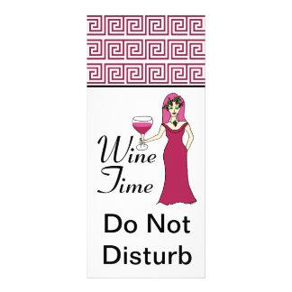 """Wine Time"" Goddess Key Pattern Do Not Disturb Rack Card Template"