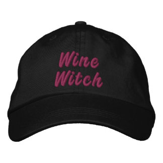 Wine Witch Embroidered Baseball Caps