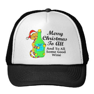 """Winey Cat Christmas """"...And To All Some Good Wine"""" Cap"""