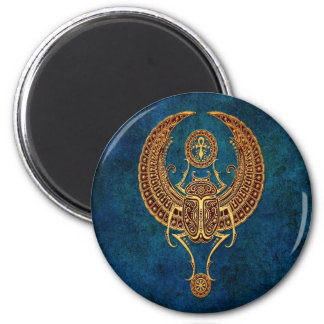 Winged Egyptian Scarab Beetle with Ankh - blue Magnet