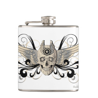 Winged Golden Skull Flask #3