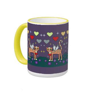Winged Kitty with Heart Custom Mug