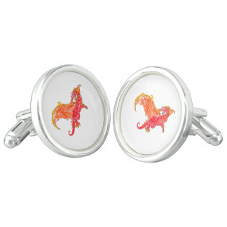 Winged Red Dragon Cuff Links