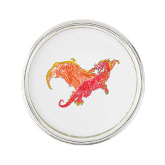 Winged Red Dragon Lapel Pin