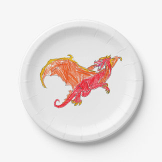 Winged Red Dragon 7 Inch Paper Plate