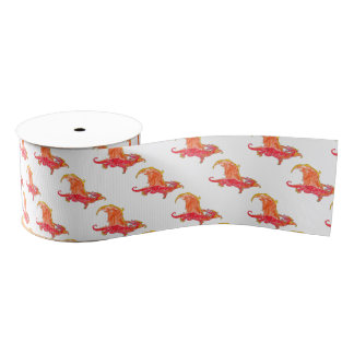 Winged Red Dragon Grosgrain Ribbon