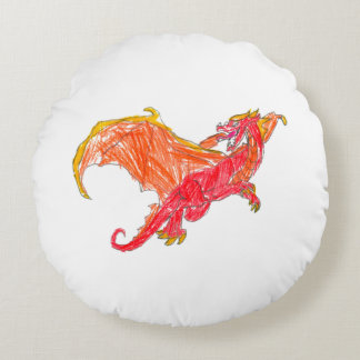 Winged Red Dragon Round Cushion