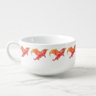 Winged Red Dragon Soup Bowl With Handle