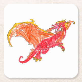 Winged Red Dragon Square Paper Coaster