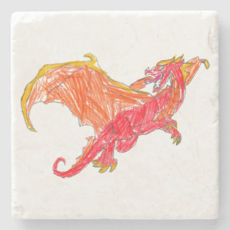 Winged Red Dragon Stone Coaster
