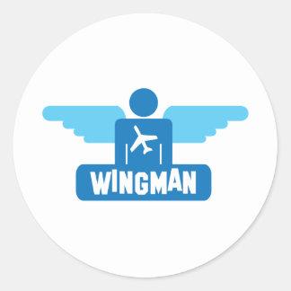 wingman pilot design classic round sticker