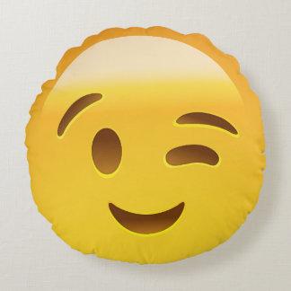 Winking Face Emoij Round Cushion