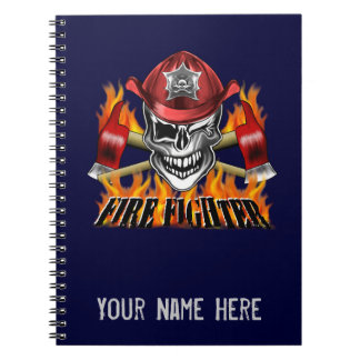 Winking Firefighter Skull and flaming Axes Spiral Note Books