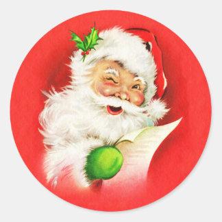 Winking Santa Claus Classic Round Sticker