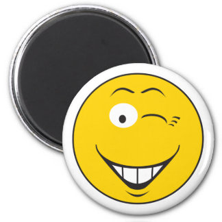 Winking Smiley Face 6 Cm Round Magnet