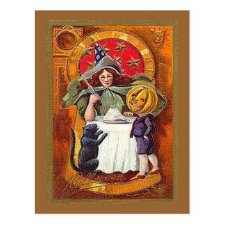 Wintage Halloween Witch and Pumpkin Head Boy Postcard