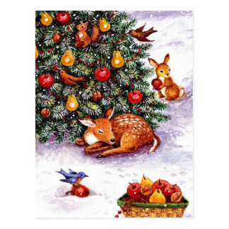 winter animals feast postcards