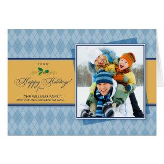 Winter Argyle Happy Holidays Card (blue)