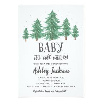 winter Baby Shower Greenery Woods Card