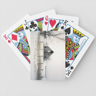winter barn bicycle playing cards